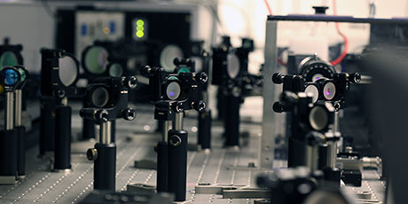 Forest of mirrors and other optical components in the DTU Fotonik femtosecond high-power laboratory